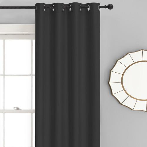 Home Living Black Albany Single Panel Eyelet Blockout Curtain