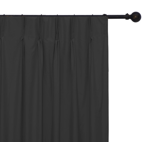 Home Living Black Albany Pinch Pleat Blockout Curtains