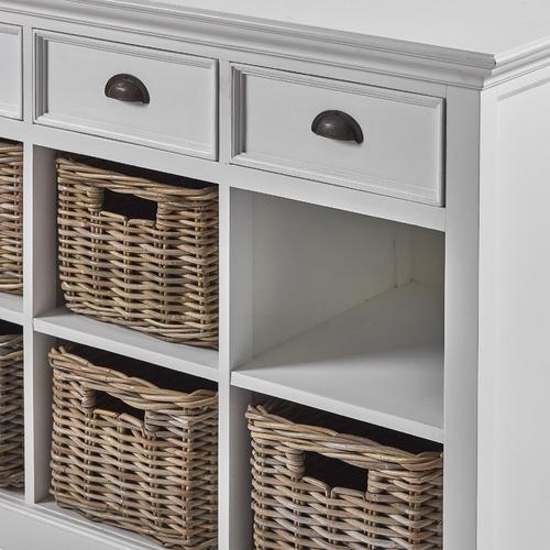 Halifax 3 Drawers And 6 Rattan Baskets Kitchen Buffet