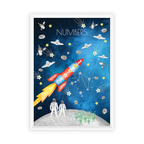 Almond Tree Designs Watercolour Space Numbers Framed Print