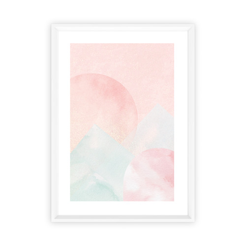 Almond Tree Designs Blush Mountain Sunset Framed Print