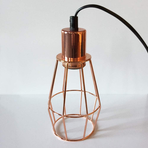 Industrial Caged Pendant With Rivets: Copper Industrial Cage Pendant Light