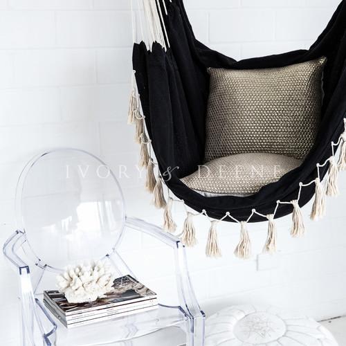 Lexington Home Collection Soho Black Hammock with Cream Rope
