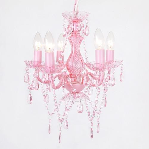 Lexington Home 5 Light Chandelier Pink Glass Post