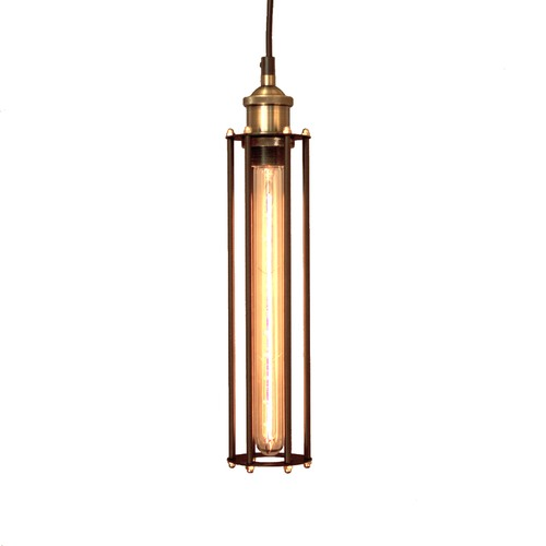 Lexington Home Black Industrial Cage Pendant Light with Brass Fittings