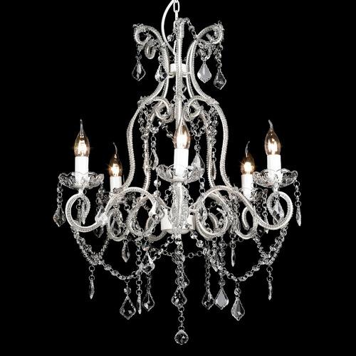 Lexington Home Shabby Paris 5 Light Glass Crystal Chandelier White