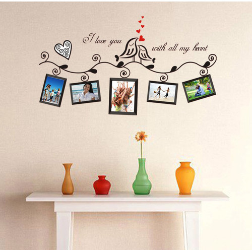 5 Photos Frames, 2 Birds, Love Hearts and Scroll Patterns Wall Decal ...