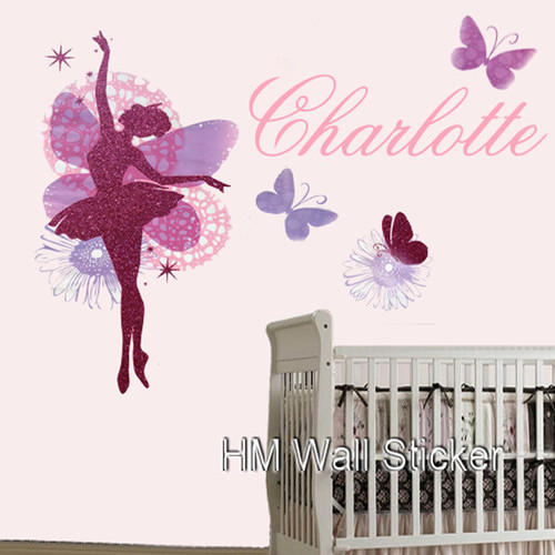HM Wall Decal NamePersonalised Name Glitter Ballerina and Butterflies Wall Sticker