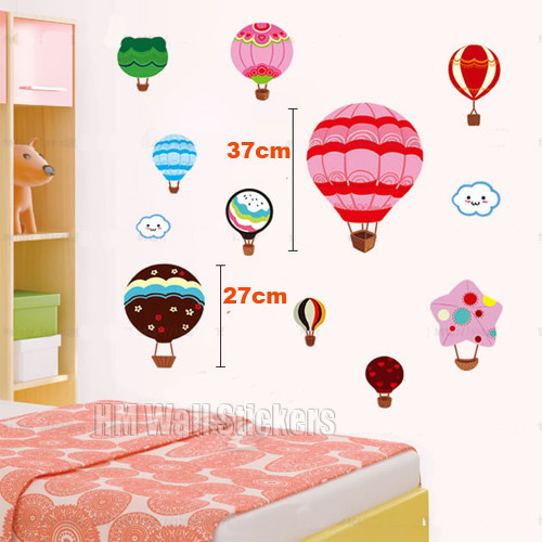 hot air balloons kids wall sticker temple amp webster colorful hot air balloon decoration wall sticker