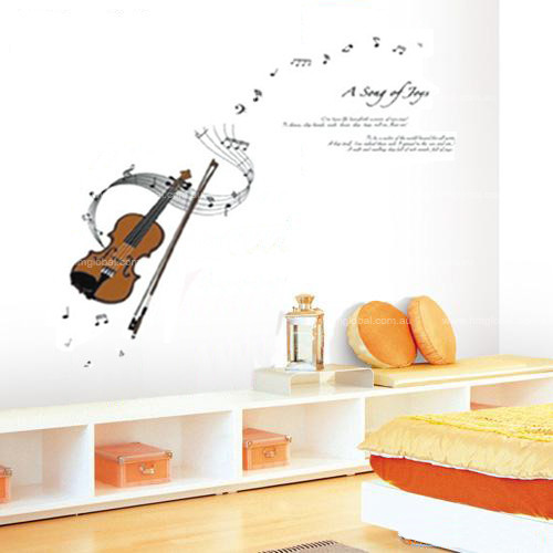 Violin, Music Symbols, Song of Joy Removable Wall Decal