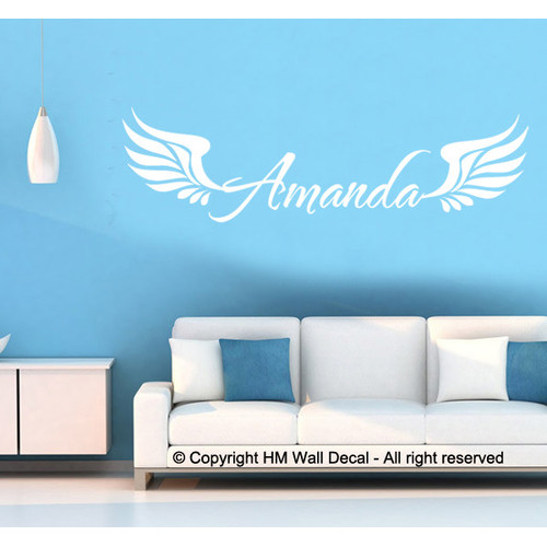 personalised name with angel wings wall sticker | temple & webster
