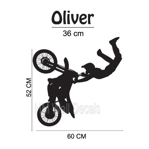 HM Wall Decal Personalised Name with Dirt Bike Wall Sticker set