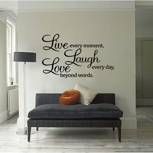 HM Wall Decal Live Every Moment, Laugh Every Day, Love Beyond Words Wall Quote Decal