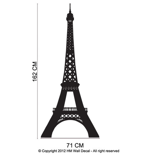HM Wall Decal Eiffel Tower Removable Wall Art Decal