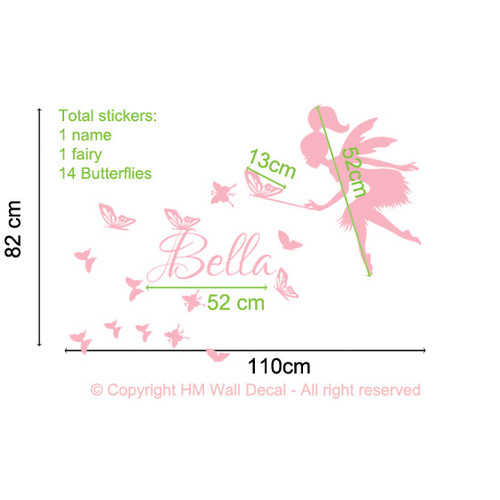 HM Wall Decal Personalised Name with Fairy and Butterflies Wall Sticker
