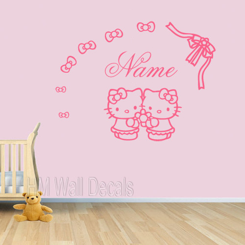 hello kitty and customise name wall sticker | temple & webster