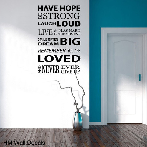 HM Wall Decal Inspiration Quote DIY Removable Wall Decal