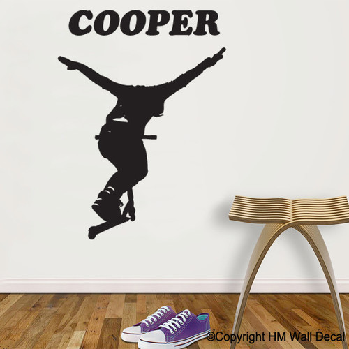 STUNT SCOOTER Wall Sticker Personalised With Name Boys Bedroom Boys Room Vinyl Decal Art Mural Xmas Gift