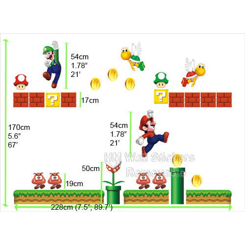 HM Wall Decal Giant Size Super Mario Bros Removable Wall Sticker