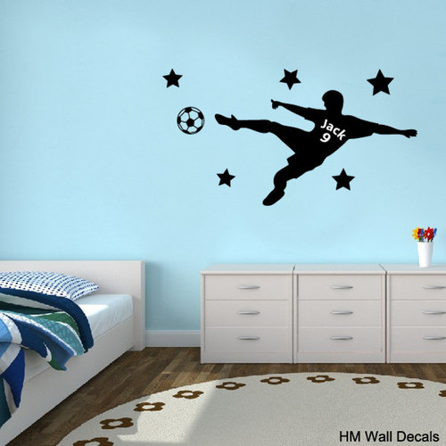 HM Wall Decal Personalised Soccer Player Removable Wall Sticker
