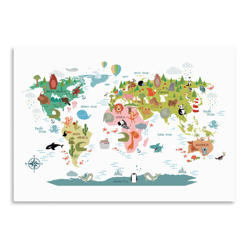 Animals World Map Printed Wall Art
