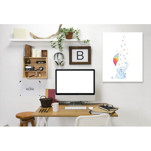 Americanflat Rainbow Rain Elephant Printed Wall Art