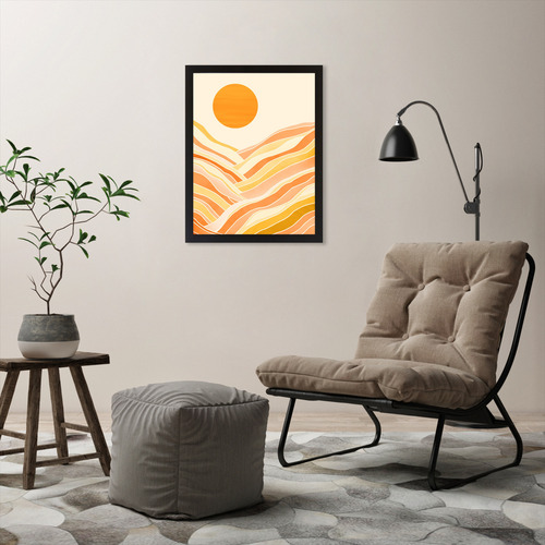 Americanflat Golden Mountain Sunset Printed Wall Art
