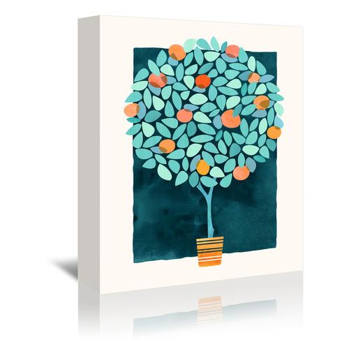 Americanflat Orange Tree At Midnight Printed Wall Art