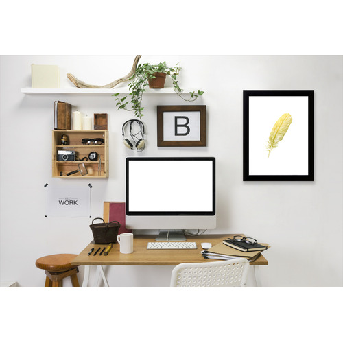 Americanflat Feather Gold Printed Wall Art