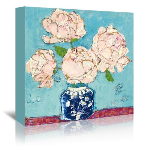 Americanflat Vase Of Peonies Aqua Coral Printed Wall Art