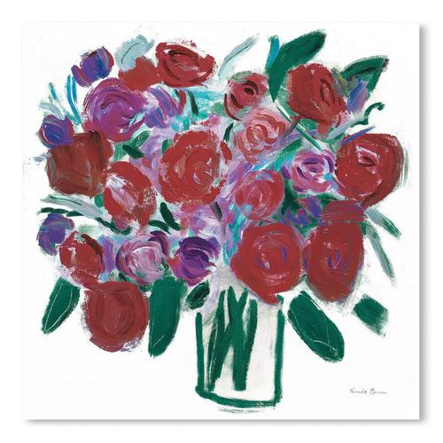 Americanflat Burgundy Roses On White Printed Wall Art
