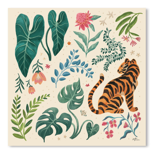 Americanflat Jungle Love V Cream Printed Wall Art