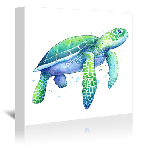 Americanflat Green Sea Turtle Square Printed Wall Art