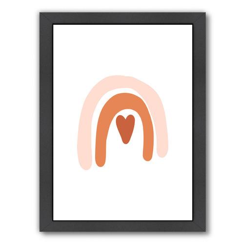 Americanflat Orange Pink Rainbow Heart Printed Wall Art