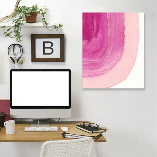 Americanflat Pink Curves Printed Wall Art