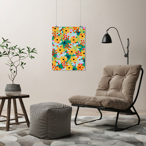 Americanflat Happy 2019 Floral Printed Wall Art