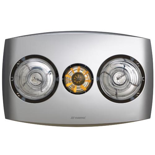 Contour Twin 3-in-1 Bathroom Heater Fan and Light in Silver