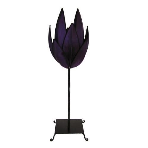 Rovan Artichoke Table Lamp in Purple and Black Trim