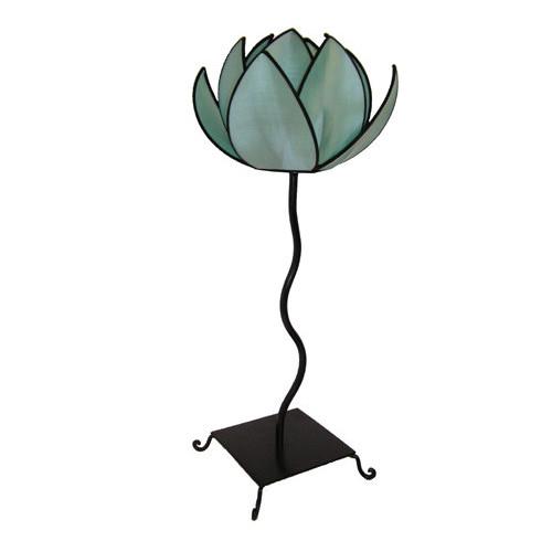 Rovan Waterlily Floor Lamp In Turqoise and Black Trim