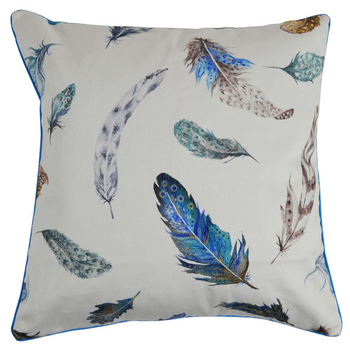 Rovan Blue Feathers Cotton Cushion