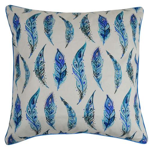 Rovan Carol Blue Feathers Cotton Cushion