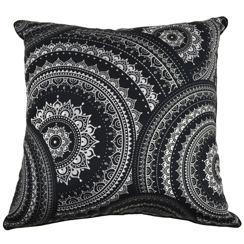 Rovan Black Mandala Kim Cotton Cushion