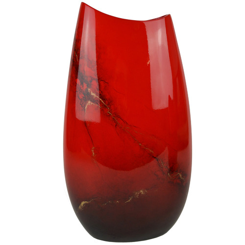 Large Red Elements Lacquer Flat Vase