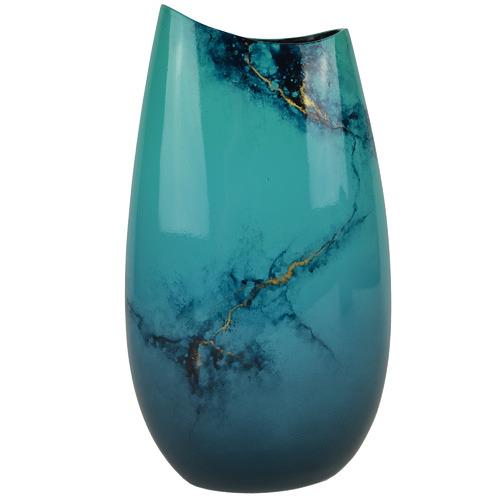 Large Blue Elements Lacquer Flat Vase