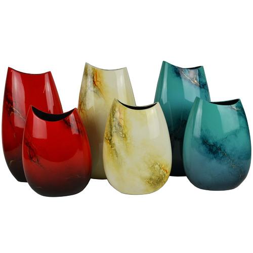 Rovan Large Blue Elements Lacquer Flat Vase