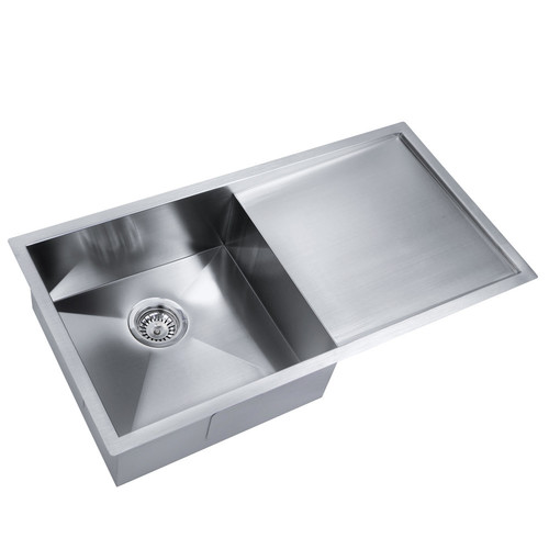 Ife rectangular kitchen laundry sink with strainer waste in life rectangular kitchen laundry sink with strainer waste in satin workwithnaturefo