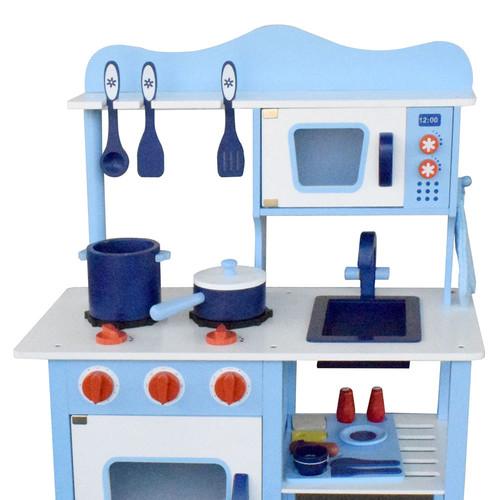 Life Children Wooden Kitchen Play Set Blue