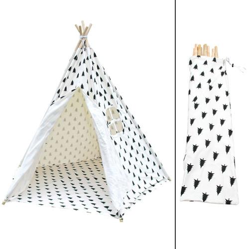i.Life 5 Poles Teepee Tent w/ Storage Bag Black White