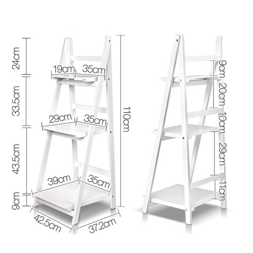 i.Life White Wooden Ladder Storage Display Shelf