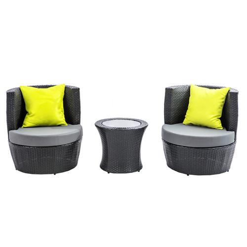 Good Life Elba Stackable 3 Piece PE Outdoor Coffee Table U0026amp; Chair Set